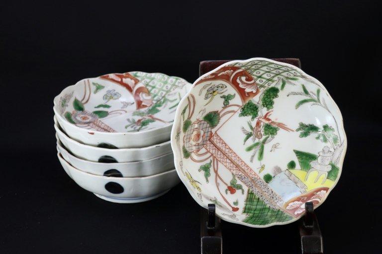 伊万里色絵色絵なます皿 五枚組 / Imari Polychrome 'Namasu' Bowls  set of 5