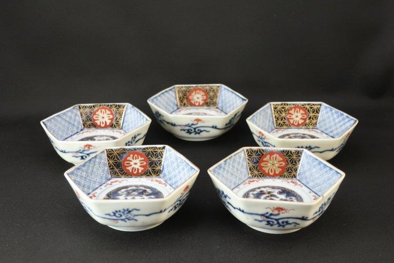 伊万里色絵六角小鉢 五客組 / Imari Small Hexagonal Bowls  set of 5