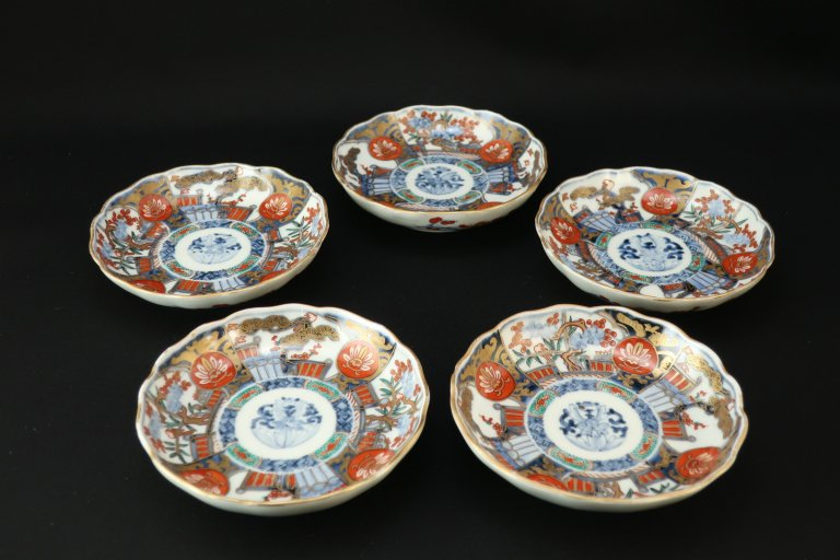 伊万里色絵松竹梅文四寸皿 五枚組 / Imari Small Polychrome Plates  set of 5