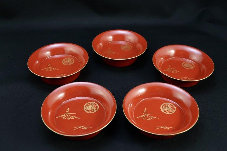 朱塗折鶴沈金蒔絵菓子皿 五枚組 / Red-lacquered Small Plates with 'makie' picture of 'Origami' Cranes  set of 5
