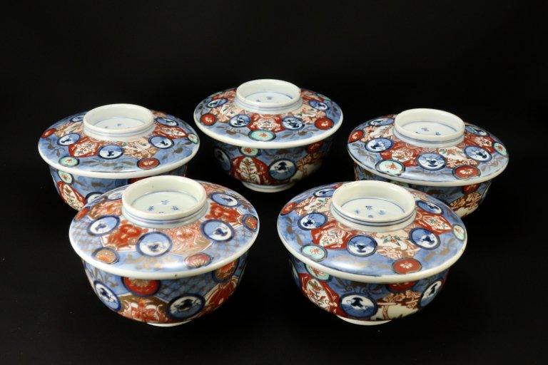 伊万里色絵丸文蓋茶碗 五枚組 / Imari Polychrome Bowls with Lids  set of 5