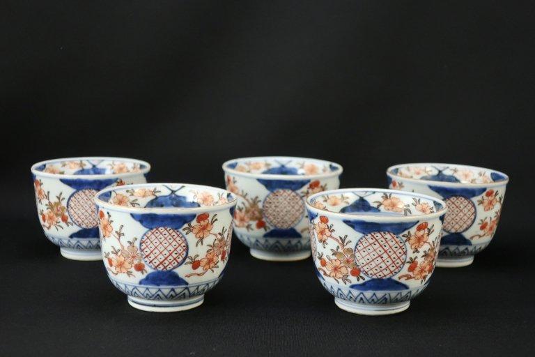 伊万里色絵丸文汲出茶碗 五客組 / Imari Polychrome Tes Cups  set of 5