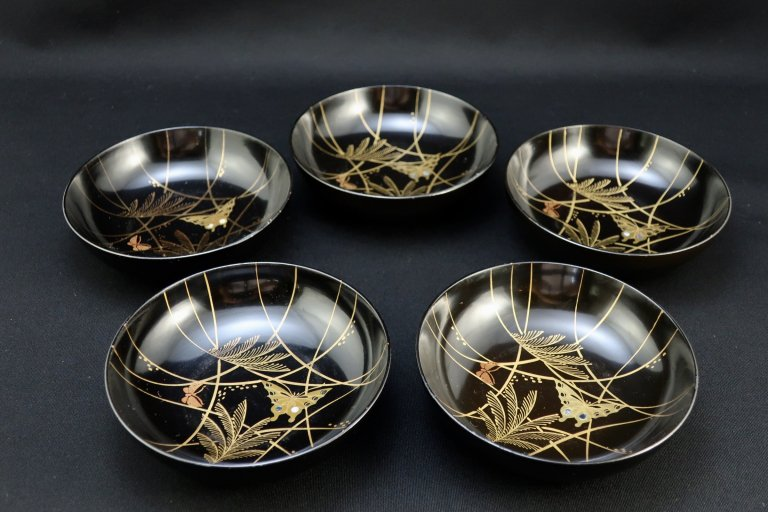 黒塗螺鈿蝶蒔絵菓子皿 五枚組