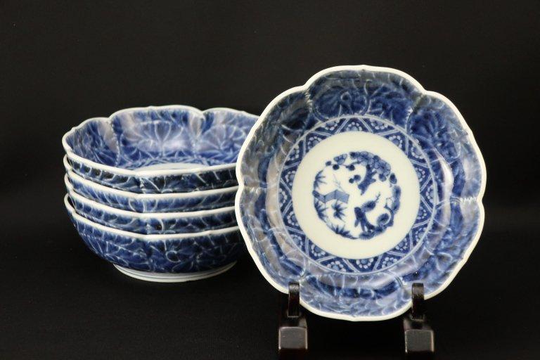 伊万里染付牡丹唐草文なます皿 五枚組 / Imari Blue & White 'Namasu' Bowls  set of 5