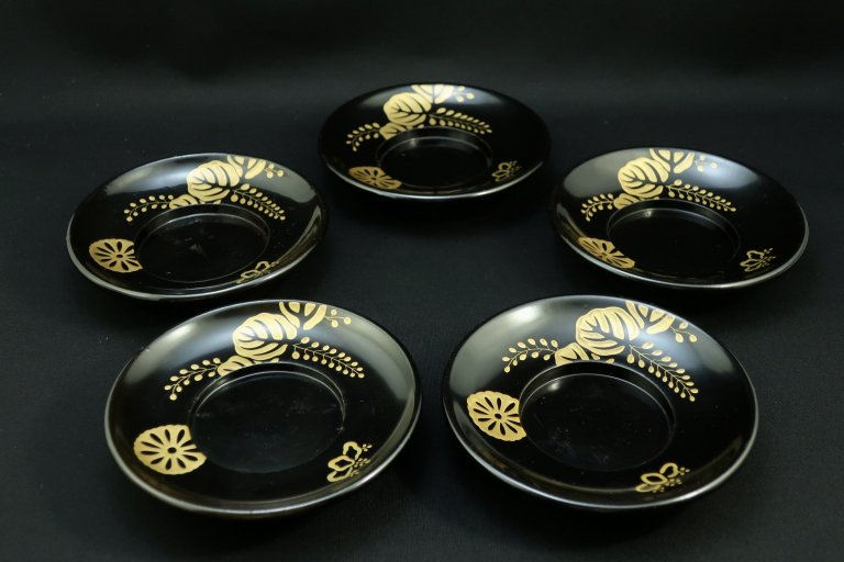 黒塗菊桐蒔絵茶托 五枚組 / Black-lacquered Tea Cup Saucer  set of 5