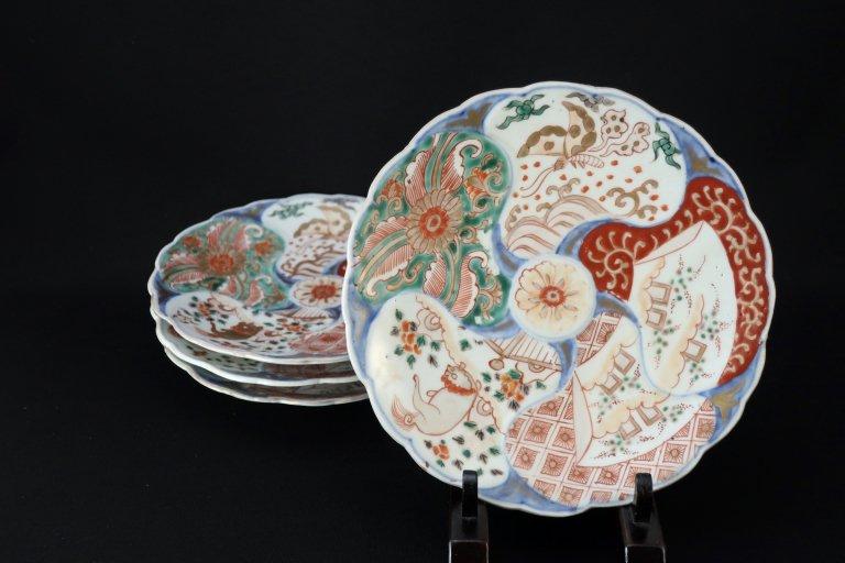 伊万里色絵菊花形六寸皿 四枚組 / Imari Polychrome Chrysanthemum-flower-shaped Plates set of 4