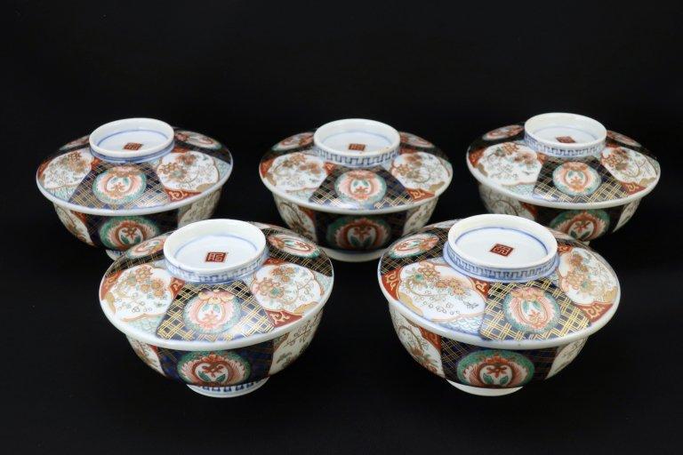 伊万里色絵蓋茶碗(蒸茶碗)五客組 / Imari Polychrome Bowls with Lids  set of 5