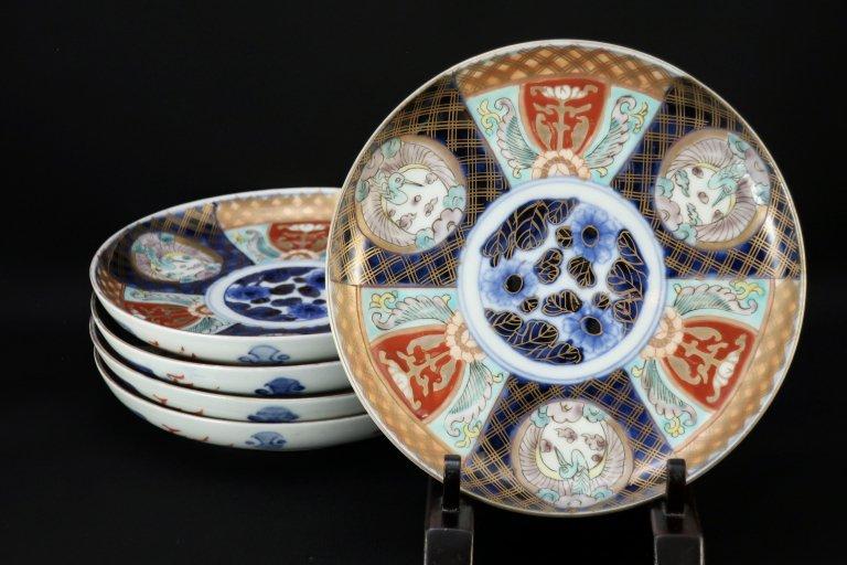 伊万里色絵鶴文六寸皿 五枚組 / Imari Polychrome Plates with the picture of Cranes  set of 5