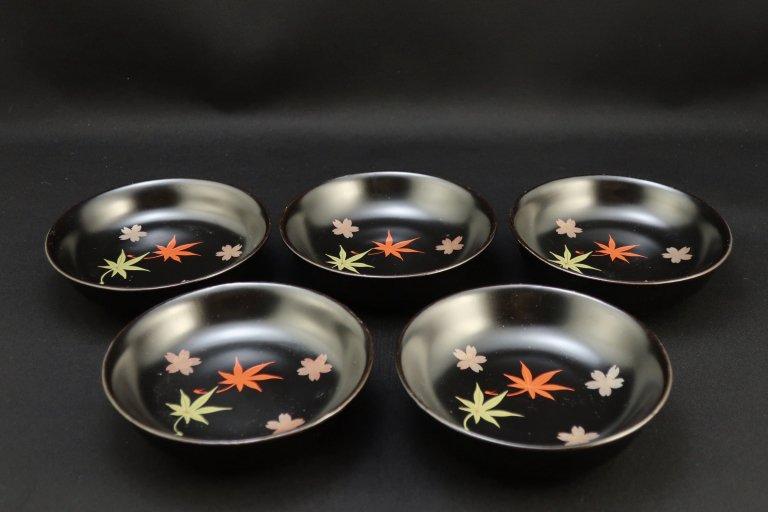黒塗雲錦蒔絵菓子皿 五枚組 / Black-lacquered Small Plates with 'Makie' picture  set of 5