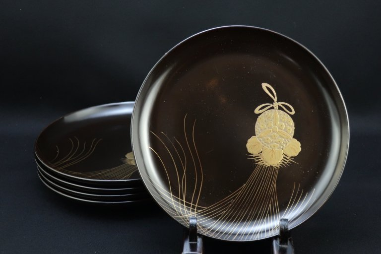 黒塗薬玉蒔絵菓子皿 五枚組 / Black-lacquered Sweet Plates  set of 5