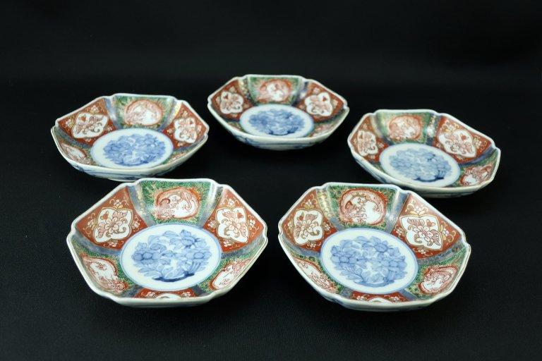 大聖寺伊万里色絵六角四寸皿 五枚組 (1枚キズあり)/ Daishoji Imari Small Hexagonal Plates  set of 5