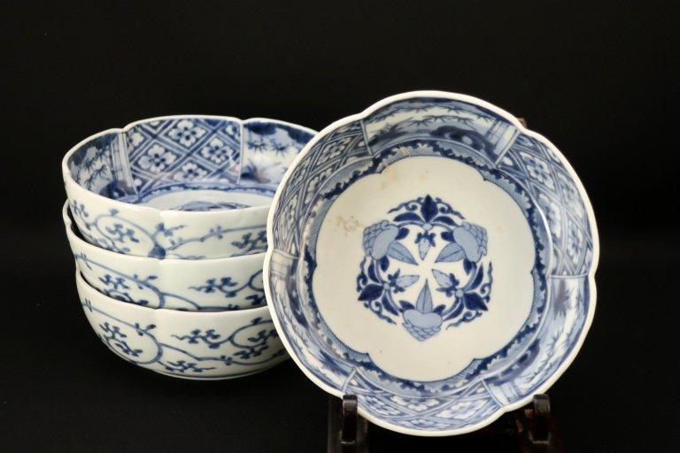 伊万里染付石榴花菱文なます皿 四枚組 / Imari blue & White 'Namasu' Bowls  set of 4