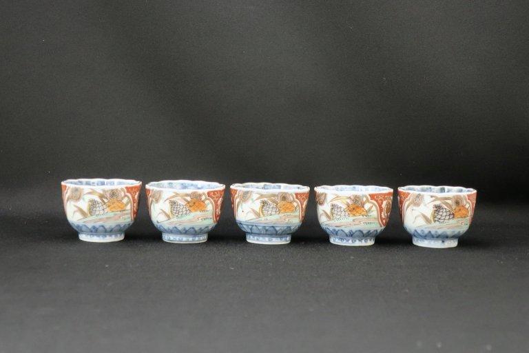 伊万里色絵鶉文覗猪口 五客組 / Imari Small Polychrome Cups  set of 5