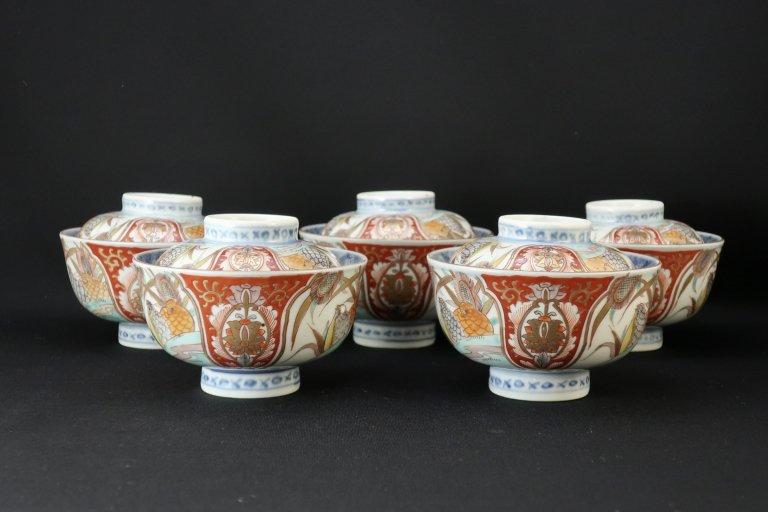 伊万里色絵鶉文蓋茶碗 五客組 / Imari Polychrome Bowls with Lids  set of 5