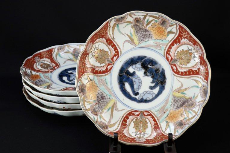 伊万里色絵鶉文七寸皿 五枚組 / Imari Polychrome Plates with the picture of Quails  set of 5