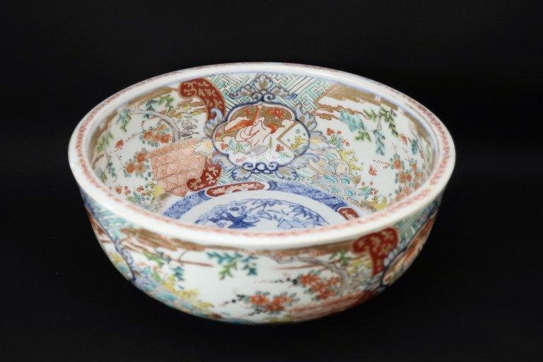 伊万里色絵花鳥文大鉢 (M)/ Imari Large Polychrome Bowl with the picture of Flowers and Birds(M)