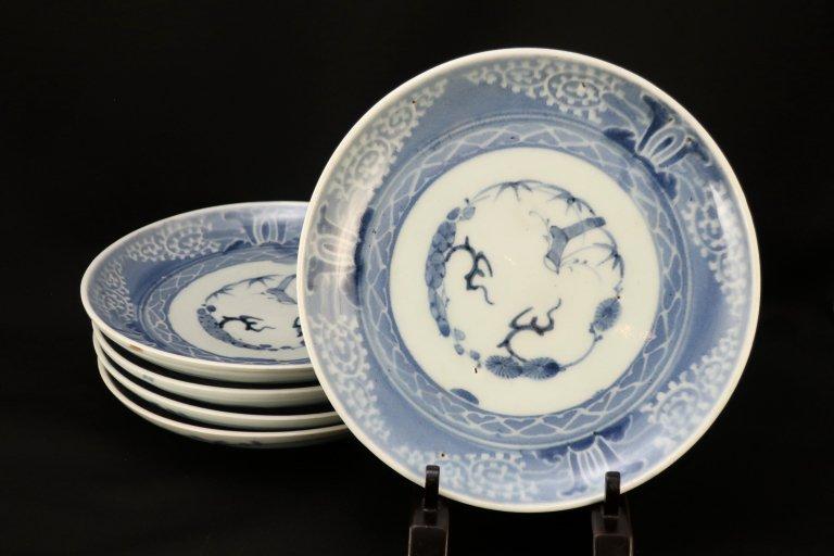 伊万里蛸唐草兜文七寸皿 五枚組(1枚キズあり) / Imari Blue & White Plates  set of 5