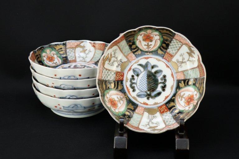 伊万里色絵なます皿 五枚組 / ImariPolychrome 'Namasu' Bowls  set of 5