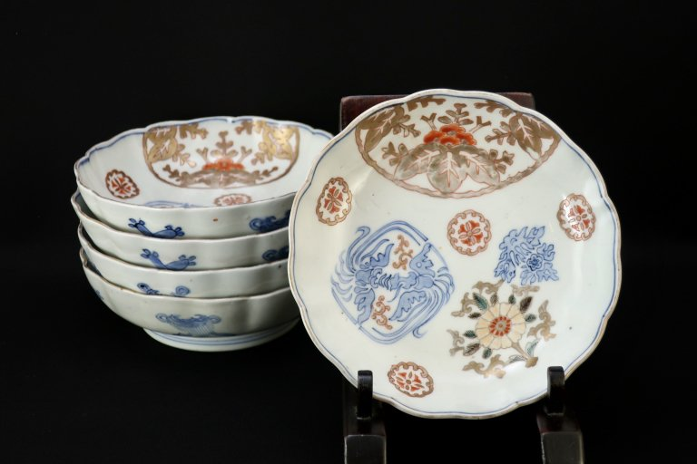 伊万里色絵桐鳳凰文なます皿 五枚組 / Imari Polychrome 'Namasu' Bowls  set of 5