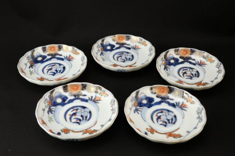 伊万里色絵草花文四寸皿 五枚組 / Imari Small Polychrome Plates  set of 5
