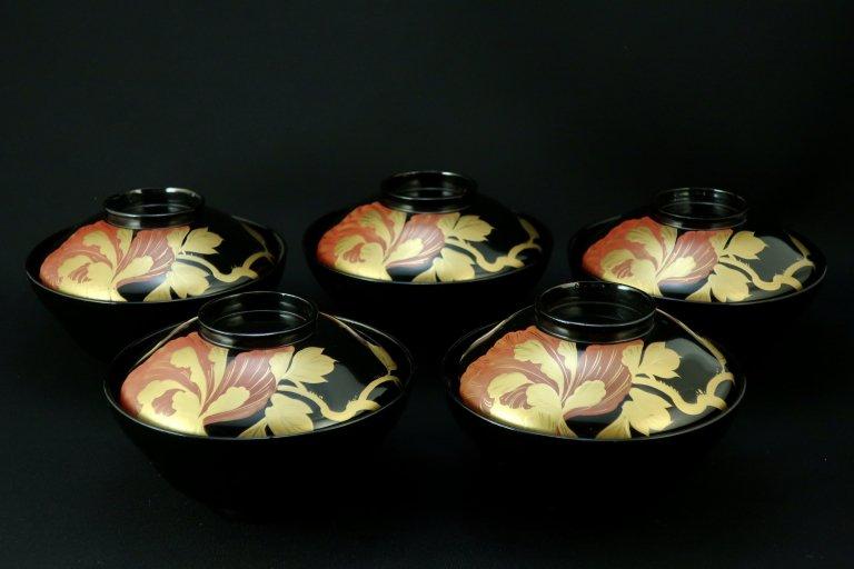 黒塗牡丹蒔絵吸物椀 五客組 / Black-lacquered Soup Bowls with Lids  set of 5