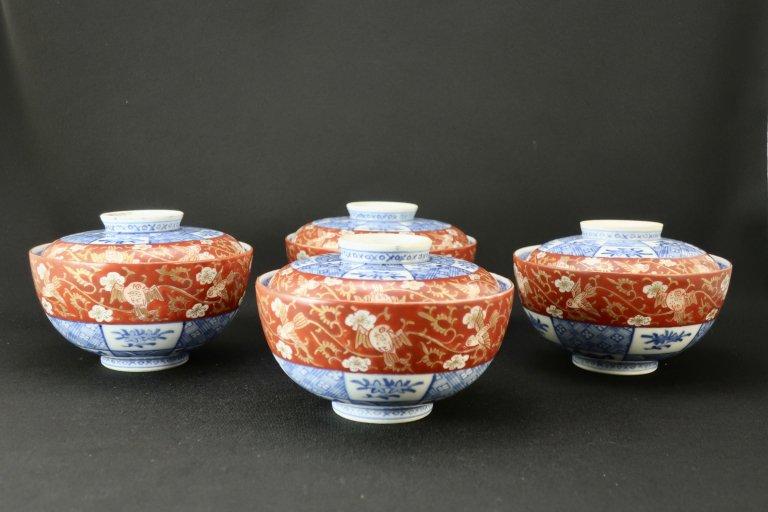 大聖寺伊万里赤絵蓋茶碗(大)四客組 / Daishoji Imari Polychrome Bowls with Lids  set of 4