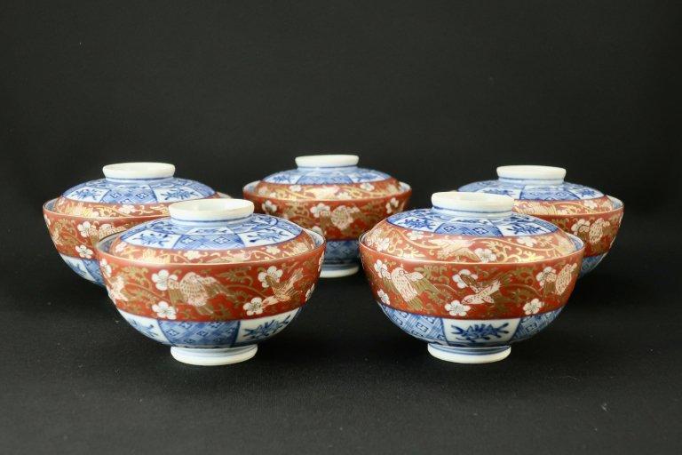 大聖寺伊万里赤絵蓋茶碗(小)五客組 / Daishoji Imari Polychrome Bowls with Lids  set of 5