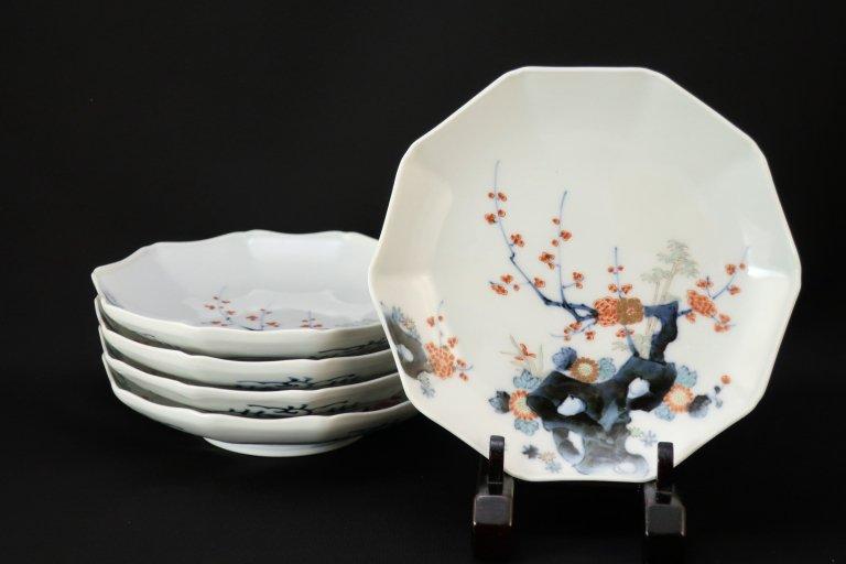 伊万里柿右衛門手十角六寸皿 五枚組 / Imari Kakiemon- styled Plates  set of 5