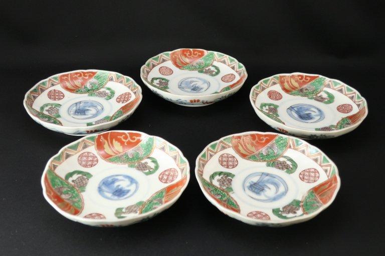 伊万里色絵鶴亀文四寸半皿 五枚組 / Imari Polychrome Plates with the picture of Tortoises and Cranes  set of 5