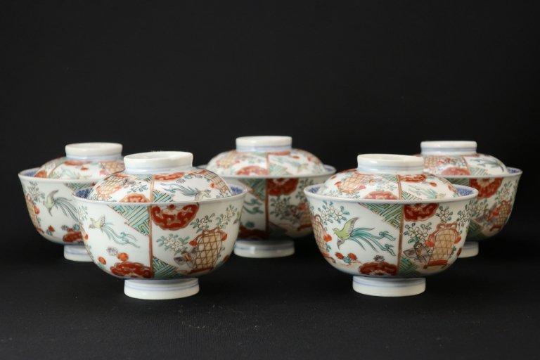 伊万里色絵花鳥文蓋茶碗 五客組 / Imari Polychrome Bowls with Lids  set of 5
