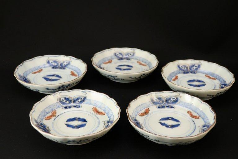 伊万里色絵蝶文小なます皿 五枚組 / Imari Small Polychrome 'Namasu' Bowls with the pattern of Butterflies  set of 5