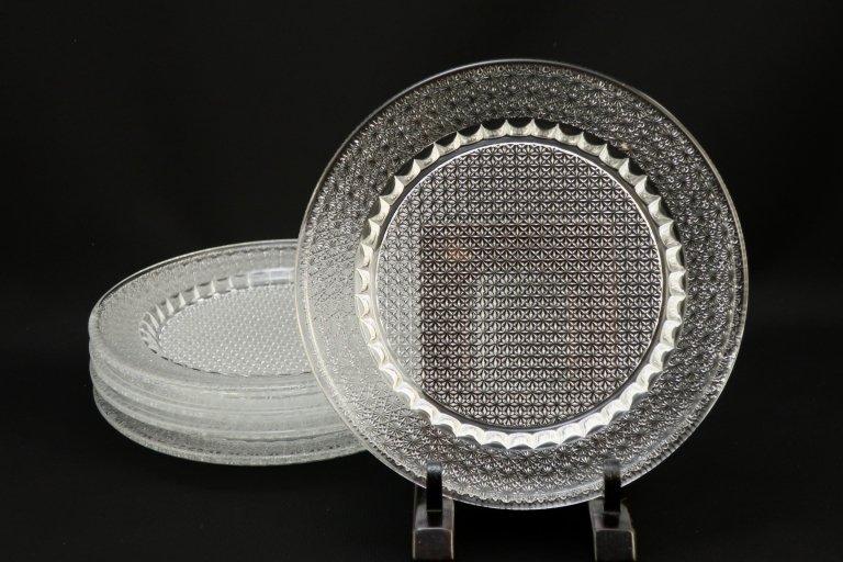 クリスタルカット丸皿 5枚組