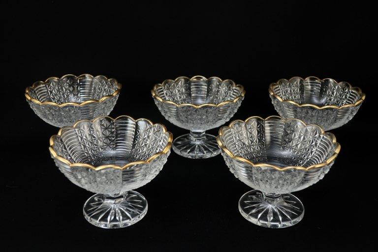 プレスガラスの金彩デザートグラス 5客組