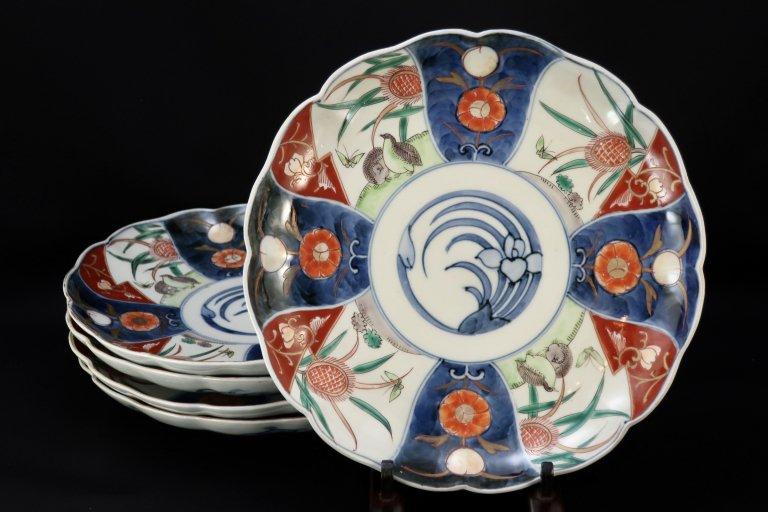 伊万里色絵鶉文八寸皿 五枚組 / Imari Polychrome Plates with the picture of Quails  set of 5