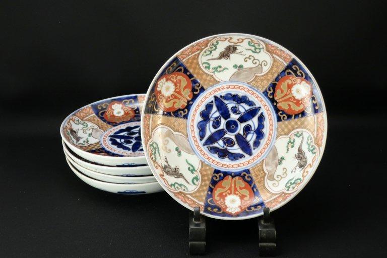 伊万里金彩色絵鶴文六寸皿 五枚組 / Imari Polychrome Plates with the picture of Cranes  set of 5