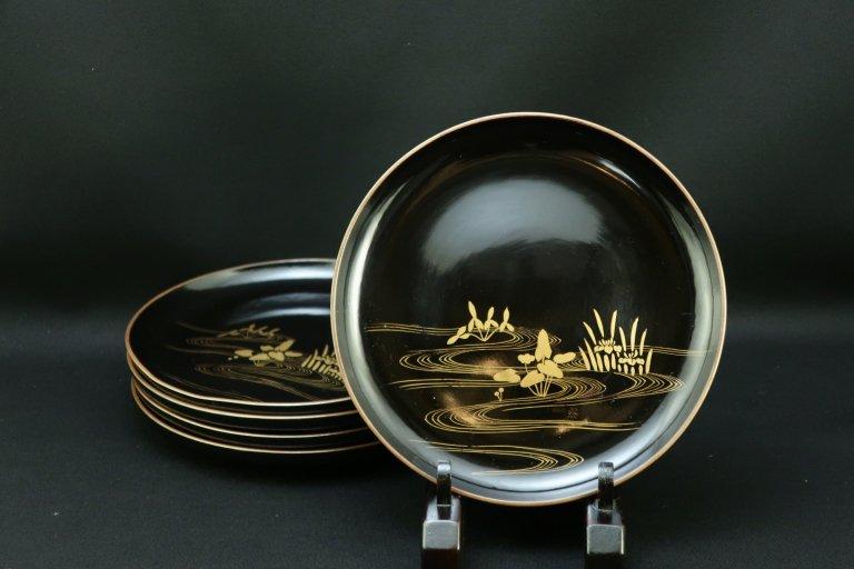 黒塗縁金草花流水蒔絵五寸半皿 / Black-lacquered Plates with Gold 'Makie' picture   set of 5