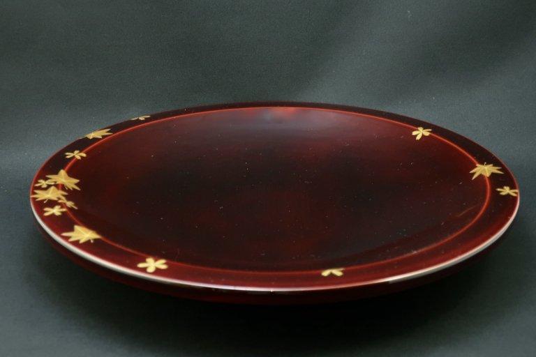 紅春慶塗雲錦蒔絵大皿 / Shunkei-lacquered Large Plate with 'Makie' picture of Maple and Sakura