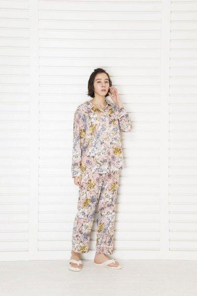 シルクタッチピンクフラワー パジャマ(トップス)