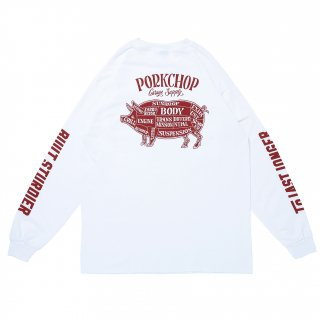 <img class='new_mark_img1' src='https://img.shop-pro.jp/img/new/icons5.gif' style='border:none;display:inline;margin:0px;padding:0px;width:auto;' />PORK CHOP GARAGE SUPPLY PORK BACK L/S TEE/WHITE
