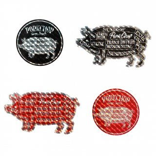 <img class='new_mark_img1' src='https://img.shop-pro.jp/img/new/icons1.gif' style='border:none;display:inline;margin:0px;padding:0px;width:auto;' />PORK CHOP GARAGE SUPPLY HOLOGRAM STICKER SET BK/RD