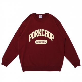 <img class='new_mark_img1' src='https://img.shop-pro.jp/img/new/icons1.gif' style='border:none;display:inline;margin:0px;padding:0px;width:auto;' />PORK CHOP GARAGE SUPPLY COLLEGE SWEAT/BURGUNDY