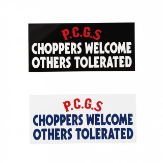 <img class='new_mark_img1' src='https://img.shop-pro.jp/img/new/icons5.gif' style='border:none;display:inline;margin:0px;padding:0px;width:auto;' />PORKCHOP GARAGE SUPPLY CHOPPERS WELCOME STICKER/2Color