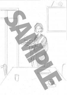 ★「怜々蒐集譚」モノクロ絵ハガキ B-7 女給_お茶出し