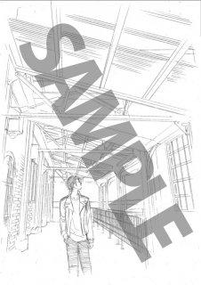 ★「クロードと一緒に・2019」モノクロ絵ハガキ A-2 「彼」テラス遠景