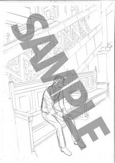 ★「クロードと一緒に・2019」モノクロ絵ハガキ A-4刑事イス