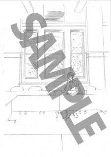 ★「クロードと一緒に・2019」モノクロ絵ハガキ A-6速記者机