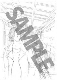 ★「クロードと一緒に・2019」モノクロ絵ハガキ B-1 「彼」 テラスバストアップ