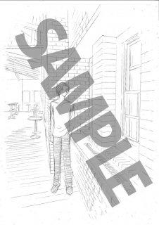 ★「クロードと一緒に・2019」モノクロ絵ハガキ B-4  「彼」 窓辺