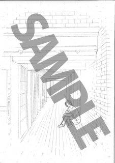 ★「クロードと一緒に・2019」モノクロ絵ハガキ B-5 「彼」 廊下膝抱え