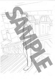 ★「クロードと一緒に・2019」モノクロ絵ハガキ B-6刑事階段